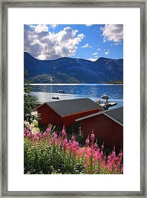 Red Norwegian Houses Along Fjord Framed Print by Sandra Rugina