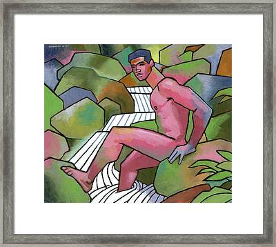 Red Nude On Mossy Rocks Framed Print