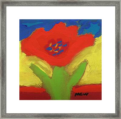 Red Number 1 Framed Print by Mary Carol Williams