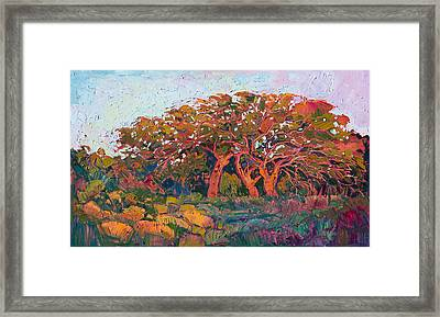 Framed Print featuring the painting Red Oak Light by Erin Hanson