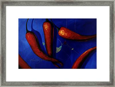 Red On Blue Framed Print