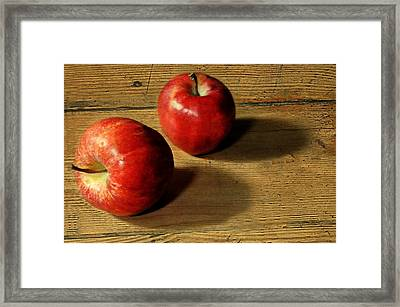 Red On Wood Framed Print