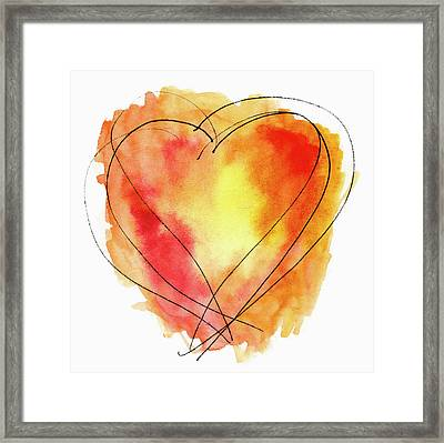 Framed Print featuring the photograph Red Orange Yellow Watercolor And Ink Heart by Carol Leigh