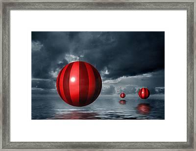 Red Orbs Framed Print by Judi Quelland