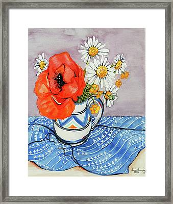 Red Oriental Poppy And Marguerites In A Honiton Jug Framed Print
