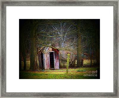 Red Outhouse Framed Print by Joyce Kimble Smith