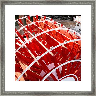 Red Paddle Wheel Framed Print by Art Block Collections