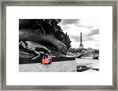 Red Padlocks In Paris Framed Print