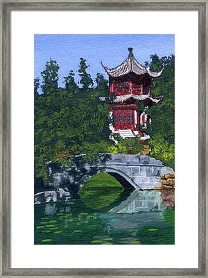 Framed Print featuring the painting Red Pagoda by Lynne Reichhart