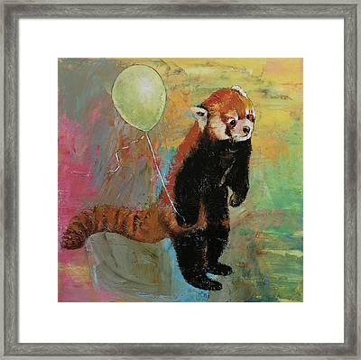 Red Panda Balloon Framed Print