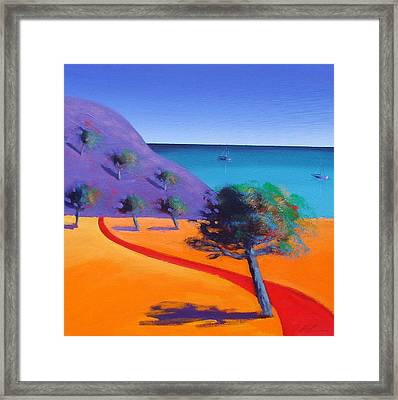 Red Path Framed Print by Paul Powis