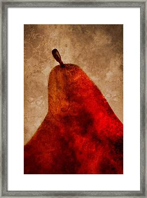 Red Pear II Framed Print by Carol Leigh