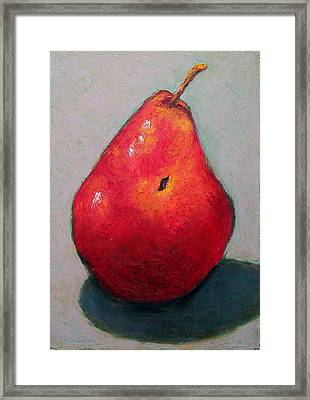 Red Pear Framed Print by Joyce Geleynse