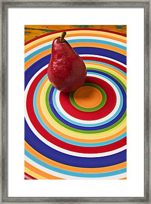 Red Pear On Circle Plate Framed Print by Garry Gay