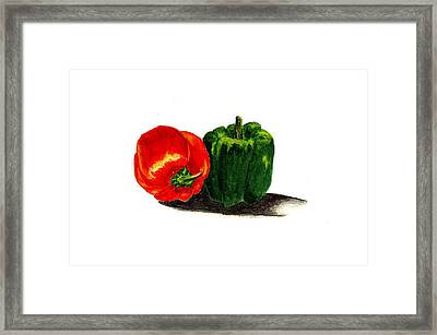 Red Pepper And Green Pepper Framed Print by Michael Vigliotti
