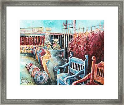 Framed Print featuring the painting Red Peppers And Pots  by Linda Shackelford