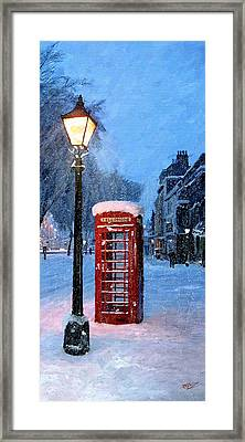 Framed Print featuring the painting Red Phone Box by James Shepherd