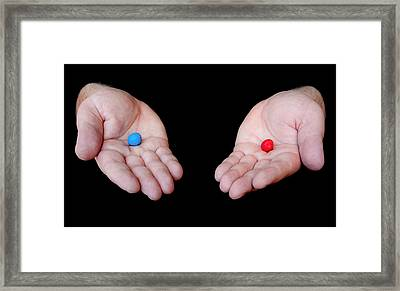 Red Pill Blue Pill Framed Print by Semmick Photo