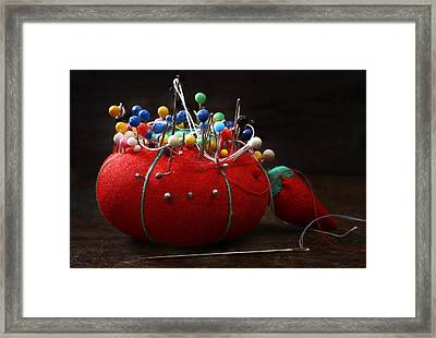 Red Pin Cushion Framed Print by Donald Erickson