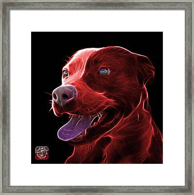 Red Pit Bull Fractal Pop Art - 7773 - F - Bb Framed Print