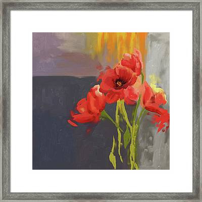 Red Poppies 400 I Framed Print by Mawra Tahreem
