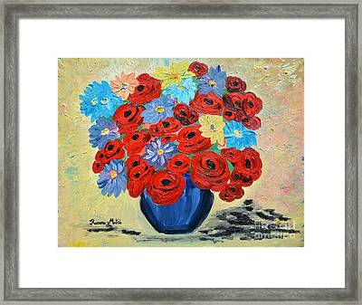 Red Poppies And All Kinds Of Daisies  Framed Print by Ramona Matei