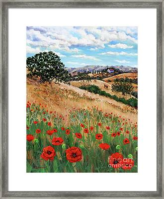 Red Poppies And Wild Rye Framed Print