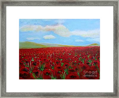 Red Poppies In Remembrance Framed Print