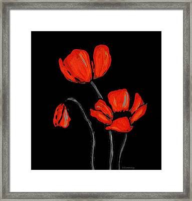 Red Poppies On Black By Sharon Cummings Framed Print