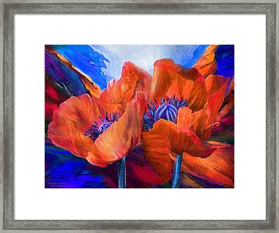 Red Poppies On Blue Framed Print