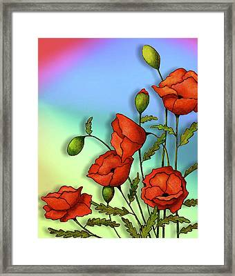 Red Poppies On Multi-colored Background Framed Print