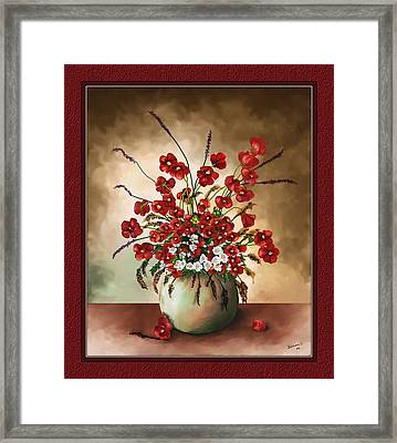 Framed Print featuring the digital art Red Poppies by Susan Kinney