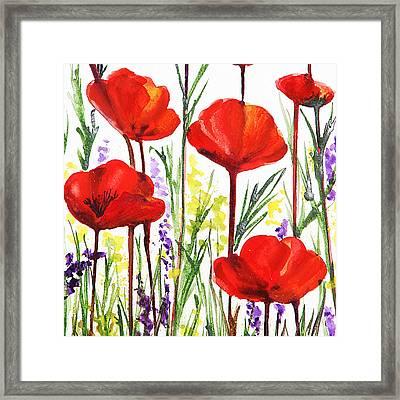 Red Poppies Watercolor By Irina Sztukowski Framed Print by Irina Sztukowski