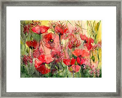 Red Poppies Wearing Pink Framed Print