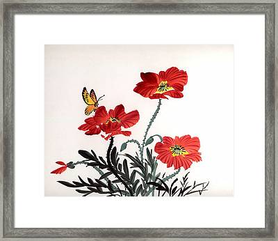 Red Poppies Framed Print by Yolanda Koh