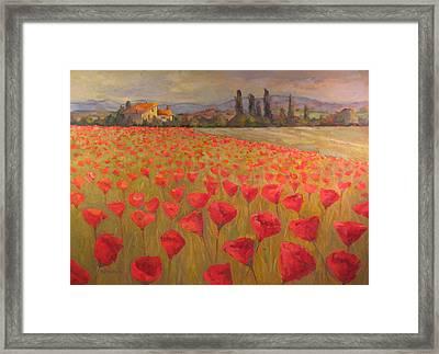 Red Poppy Field Framed Print by Sam Pearson