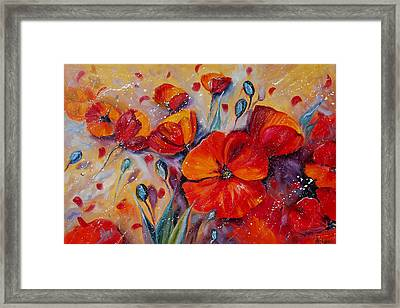 Red Poppy Meadows Framed Print