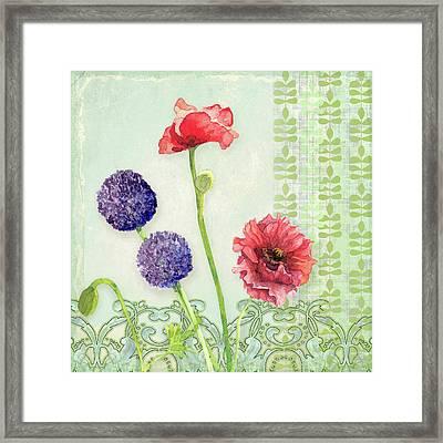 Red Poppy Purple Alium I - Retro Modern Patterns Framed Print