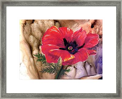 Framed Print featuring the painting Red Poppy by Sherry Shipley