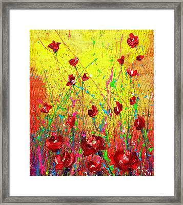 Red Posies Framed Print