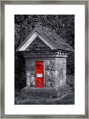 Red Post Box Framed Print by Simon Kayne