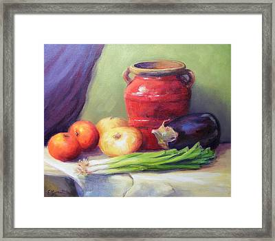 Red Pot In Still Life Framed Print