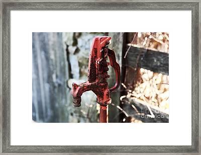 Red Pump Framed Print by John Rizzuto