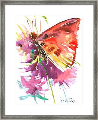 Red Purple Floral Butterfly Framed Print by Suren Nersisyan
