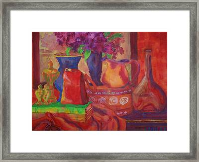 Red Purse On Green Book Framed Print by Blenda Studio