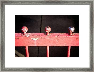 Red Railing Framed Print by Tom Gowanlock
