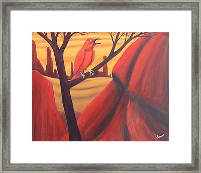 Red Raven Framed Print