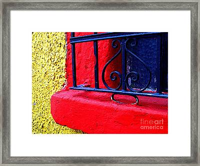 Red Red Window Sill Framed Print by Mexicolors Art Photography