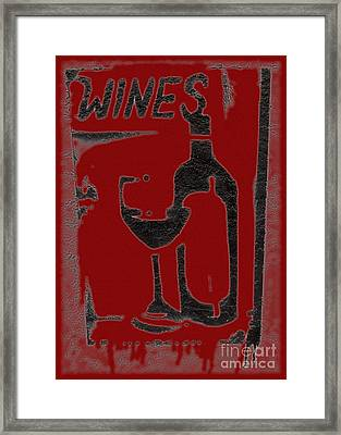 Red Red Wine Sign Framed Print by Barbie Corbett-Newmin