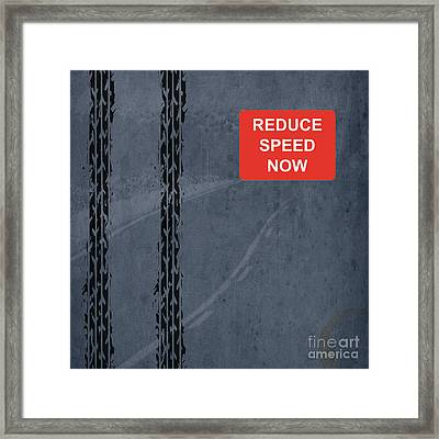 Red  Reduce Speed Now Framed Print by Pablo Franchi
